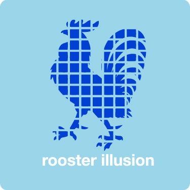 Rooster Illusion T-Shirt (Tropic Thunder) (Text)