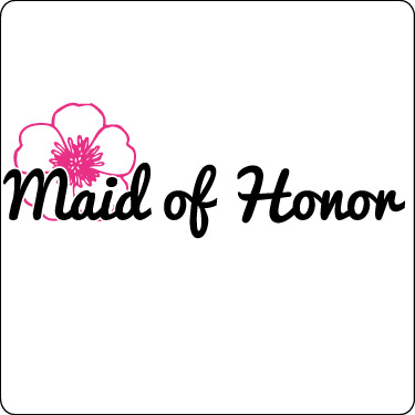 Maid of Honor T-Shirt (Flower, Hot Pink,Blk)