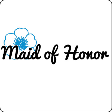 Maid of Honor T-Shirt (Flower, Sky, Blk)