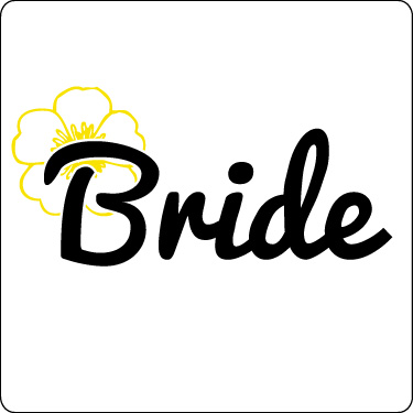 Bride T-Shirt (Flower, Yellow, Blk)