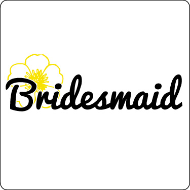 Bridesmaid T-Shirt (Flower, Yellow, Blk)
